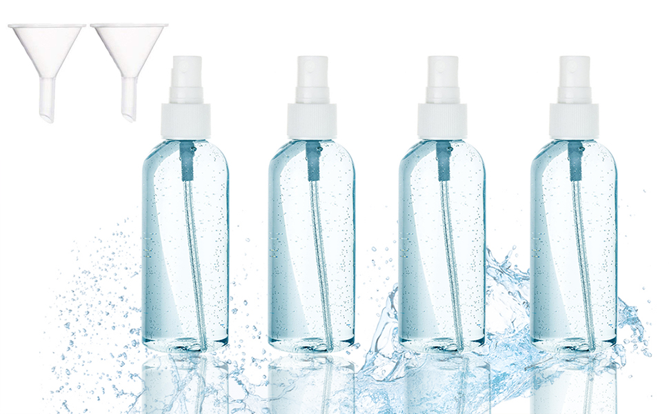 Bote Spray Botella de Aerosol Vacío Plástico Fina Atomizador Transparente Niebla (1 pack con 4 botes, 100ml plástico, vacíos, para perfume)