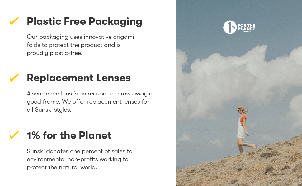 Plastic-Free Packaging, Replacement Lenses, 1% for the Planet