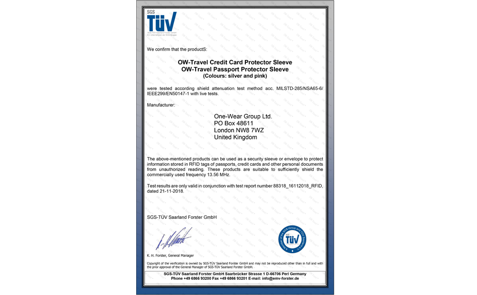 OW Travel Travel TÜV certification for RFID card protector sleeves. Best Contactless RFID Blocker.
