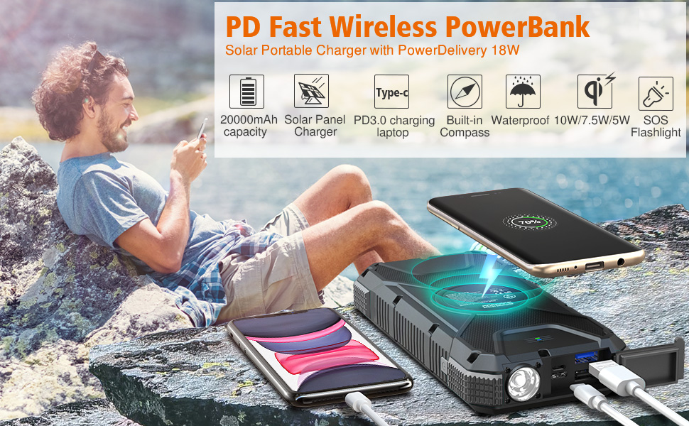 Solar powered phone charger, fast power bank ,qi charger,flashlight,