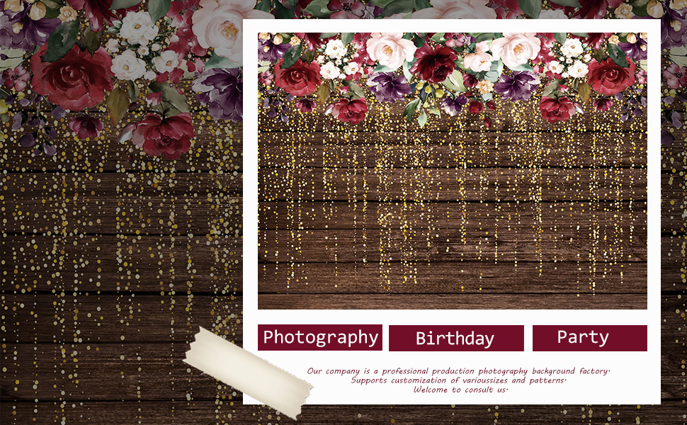 6x6FT Vinyl Backdrop Photographer,Floral,Parrot Tulip with Snowflakes Background for Baby Shower Bridal Wedding Studio Photography Pictures