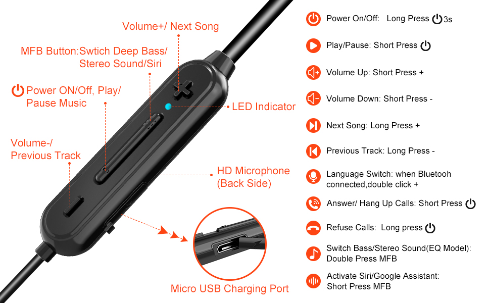 wireless earphones with volume control
