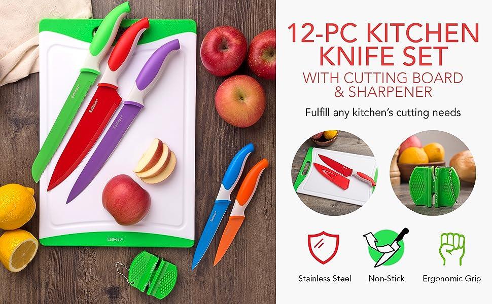 knives, sharpener, cutting boards