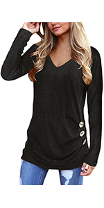 Tunic Tops for Leggings for Women Long Sleeve V Neck T Shirts Casual