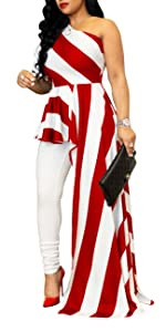 Women Sexy Striped One Shoulder High Low Irregular Tunic Tops Blouse Shirt Maxi Dress-wine red-1