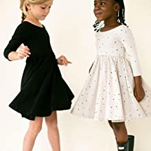 girls long sleeve dress black twirl casual dress for girls