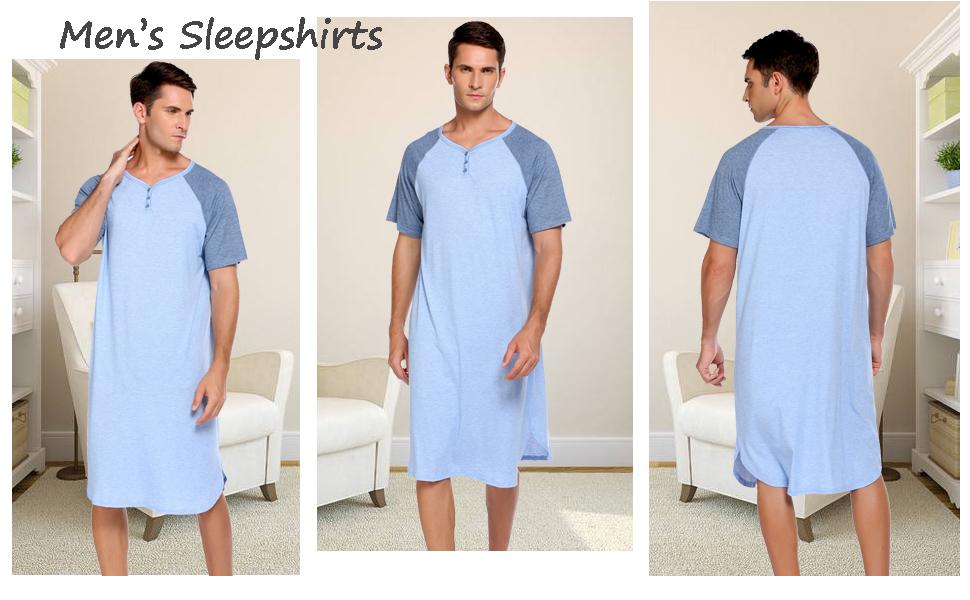 mens soft sleepwear short sleeve nightshirt plus size sleep shirts