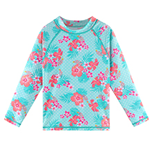 cyan flower swim shirt