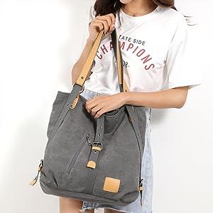 Handtasche Damen Canvas Umhängetasche,Taschen Damen Strandtasche Schultertasche Crossover Bag