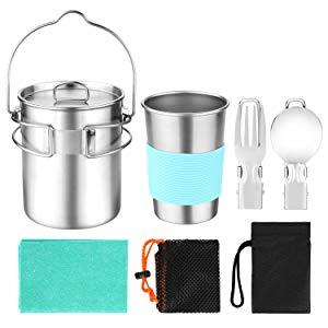 Odoland Kit Cocina Camping, Juego de Acampar para Cocina, Olla y Taza de Acero Inoxidable, Cuchara y Tenedor Plegables, Cocina para Acampar, Sarten ...