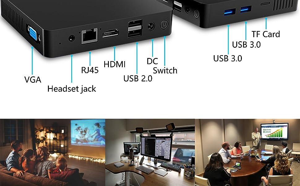 mini computers mini pc small computer cheap pc windows 10 pro RJ45 HDMI USB 3.0 headset TF card VGA
