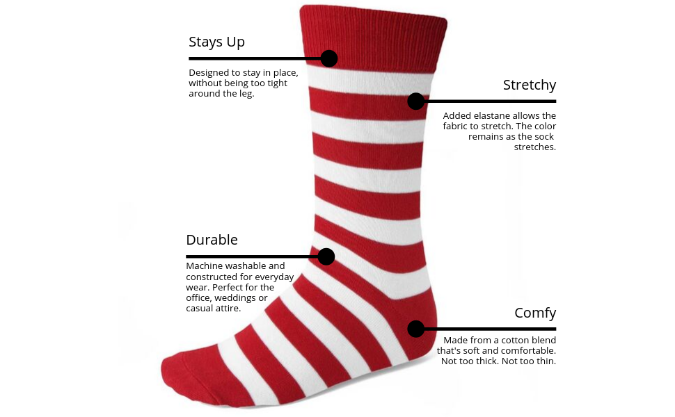 Product details and features of these men's striped socks. Dressy, casual, everyday socks.