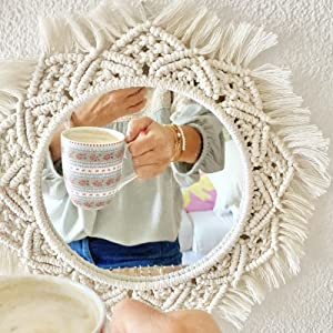 hygge cwtch hand woven macrame mandala mirror