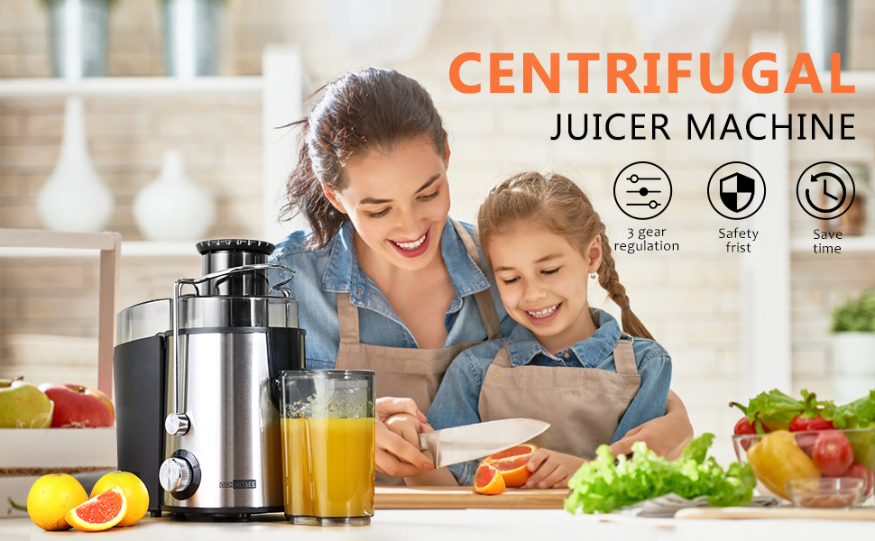 centrifugal juicer machine on desk with fruits and vegetable