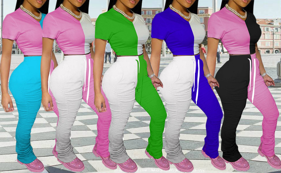 Women Casual Two Piece Outfit Set Color Block Bodycon Tops Skinny Pants Joggers Clubwear Tracksuits Sportswear