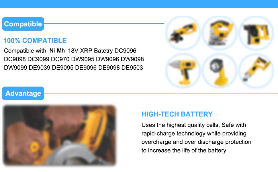 2X Moticett DC9096 3,0Ah Repuesto Ni-Mh para Dewalt 18V Bater/ía DE9039 DE9095 DE9096 DE9098 DW9096 DW9095 DW9098 Herramienta El/éctrica sin cable