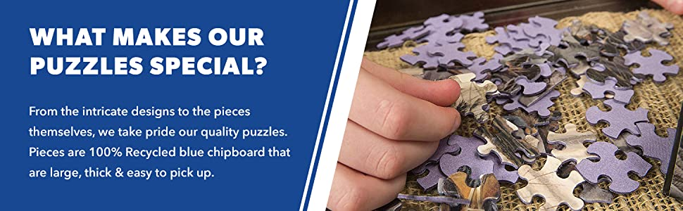 White Mountain Blue Chipboard Puzzle Pieces