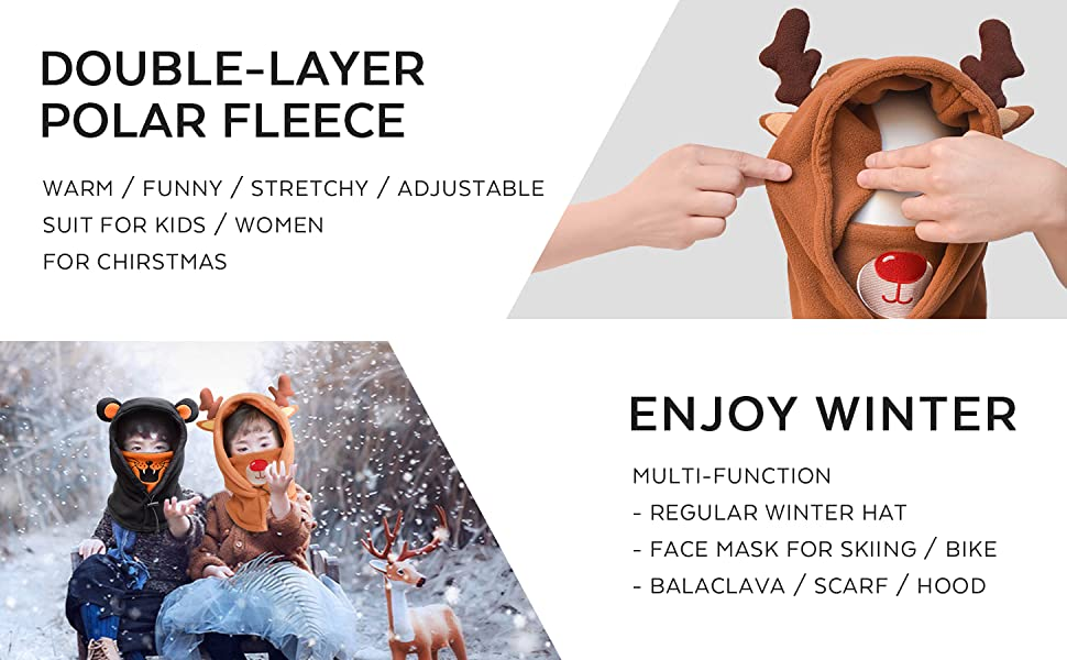 windproof face mask for kids women youth teenage keep warm cover ear cover nose cute funny