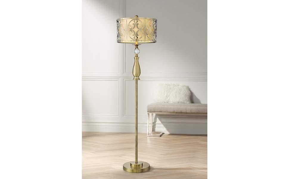 Possini Euro Doris Antique Brass Floor Lamp