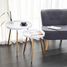 2 Tier Metal End Table, Round Side Table, Nightstand/Small Tables for Living Room, Accent Side Table