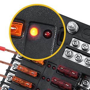 Bloque de fusibles de 12 v/ías Escribe un caja de fusibles de 12 v/ías Cuchilla Portafusibles Caja Terminal Circuito con fusibles Etiqueta Universal para coche Barco Yate RV