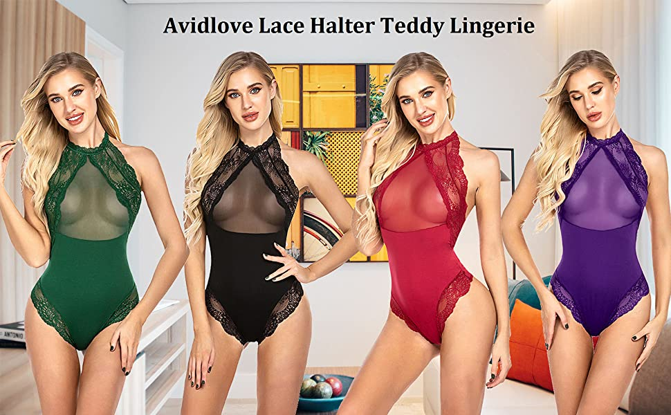 Women Lingerie Lace Teddy One Piece Halter Sheer Mesh Bodysuit Babydoll
