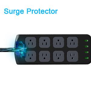 power strip surge protector black gray