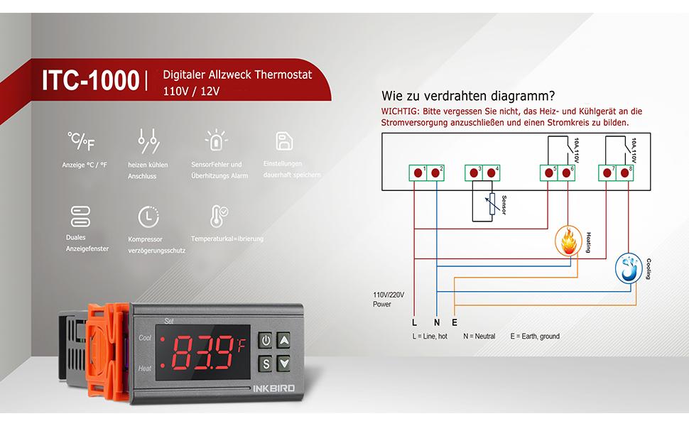 12V 50-110°C Smart LED Digital Temperatur Regler Thermostat Temperaturschalter