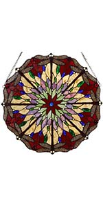 Bieye red dragonfly Tiffany style stained glass window panel