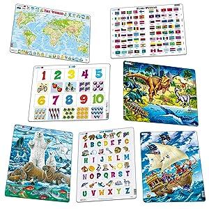 large assortiment de puzzles illustrations colorées lecture de mathématiques géographie cartes
