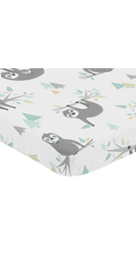 Blue and Grey Jungle Sloth Leaf Baby Nursery Fitted Mini Crib Sheet For Mini Crib or Pack and Play