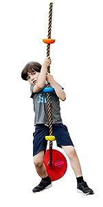 Kids climbing rope
