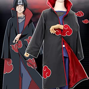 Details about  /Halloween Cosplay Anime Akatsuki Itachi Uchiha Deluxe Cloak Cape Costume Set