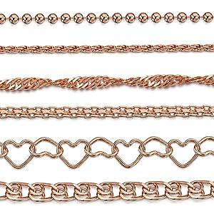 Amberta 14K Rose placcato su bracciali a catena in argento sterling - diversi stili e dimensioni