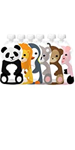 Squooshi Reusable Food Pouch Large 6 Pack of Animals