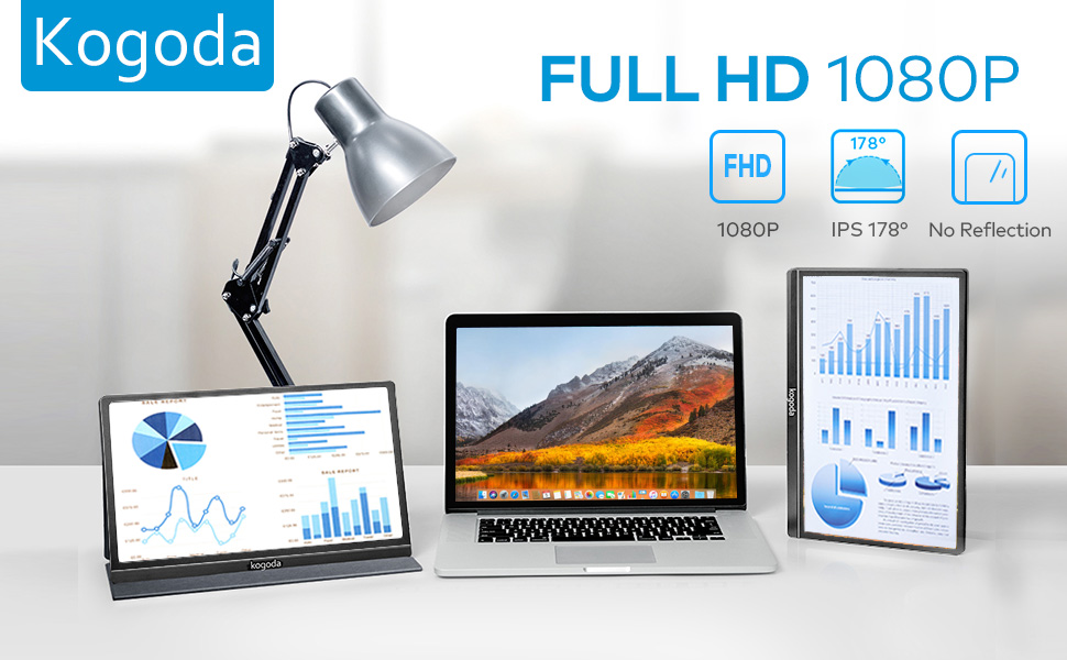 kogoda  13.3″ Portable Monitor, Kogoda FHD 1080P USB Computer Display Eye Care Gaming Monitor External Secondary Display with IPS Panel, HDMI, Type-C, Dual Speakers for PC Laptop Mac Phone PS4 Xbox (Gray) 1ea75d60 e927 4e5a a80a 1c4671d9ab76
