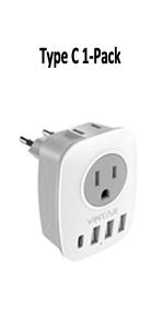 1-Pack 6 in 1 European Plug Adapter