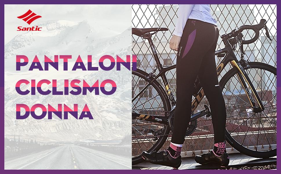 Santic Pantaloni Ciclismo Donna Imbottiti Pantaloni Ciclista Donna Pantaloni Bicicletta Imbottiti per Donna Parni