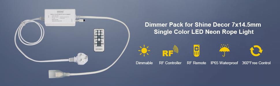 dimmer pack for shine decor 7x14.5mm single colour led neon rope light