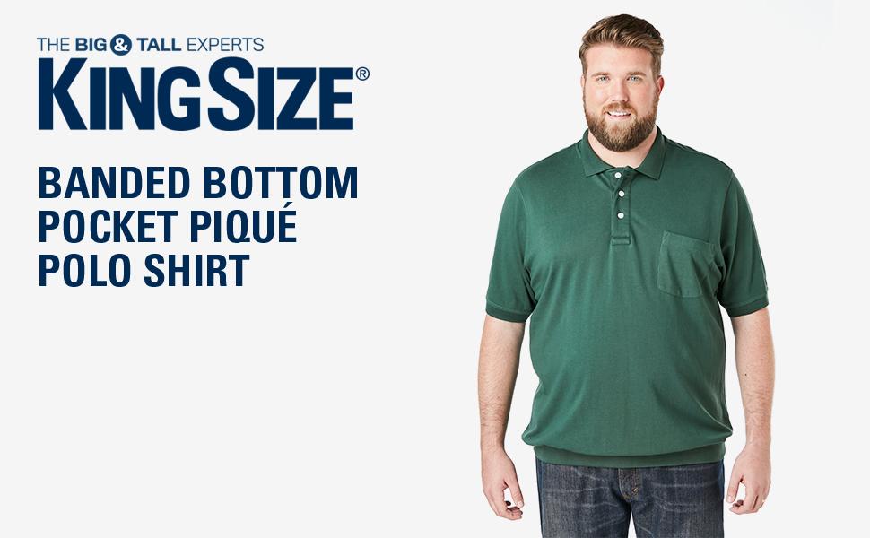 KingSize Men's Big & Tall Banded Bottom Pocket Piqué Polo Shirt