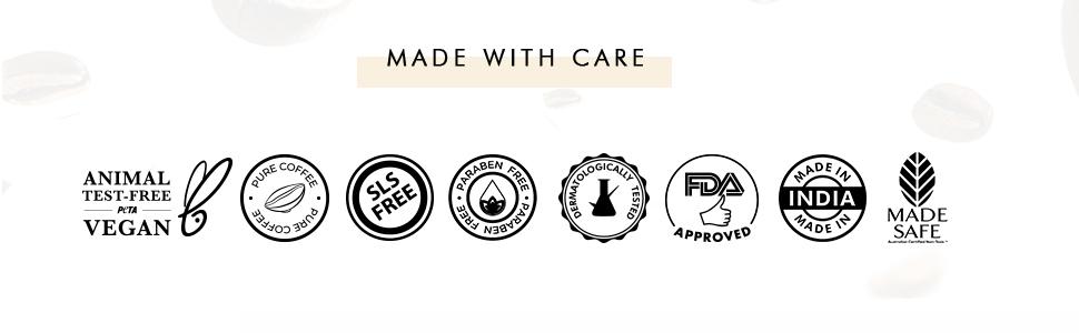 animal test free vegan pure coffee sls free paraben free dermatologically tested fda approved