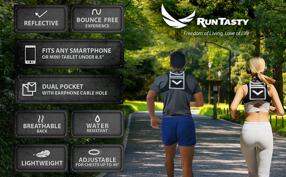 running backpack reflective vest smartphone iphone holder water resistant cycling hiking high viz