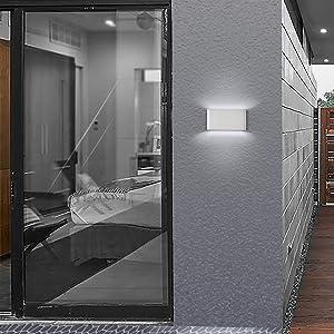 Topmo-plus 12w lámpara de pared LED impermeable IP65 moderno apliques aluminio apliques llevó exterior Arriba y Abajo Diseño Bañadore de vestíbulo 1320LM (Blanco frío / blanco): Amazon.es: Iluminación