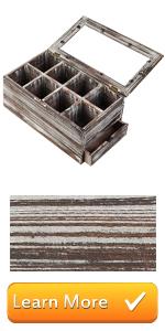 wood compartment tea box storage organizer kitchen tea bag holder