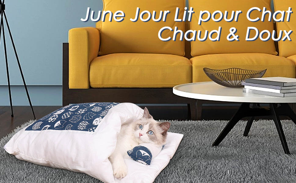 JuneJour Lit pour Chat Sac de Couchage pour Chat