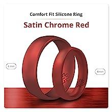 metallic red silicone ring