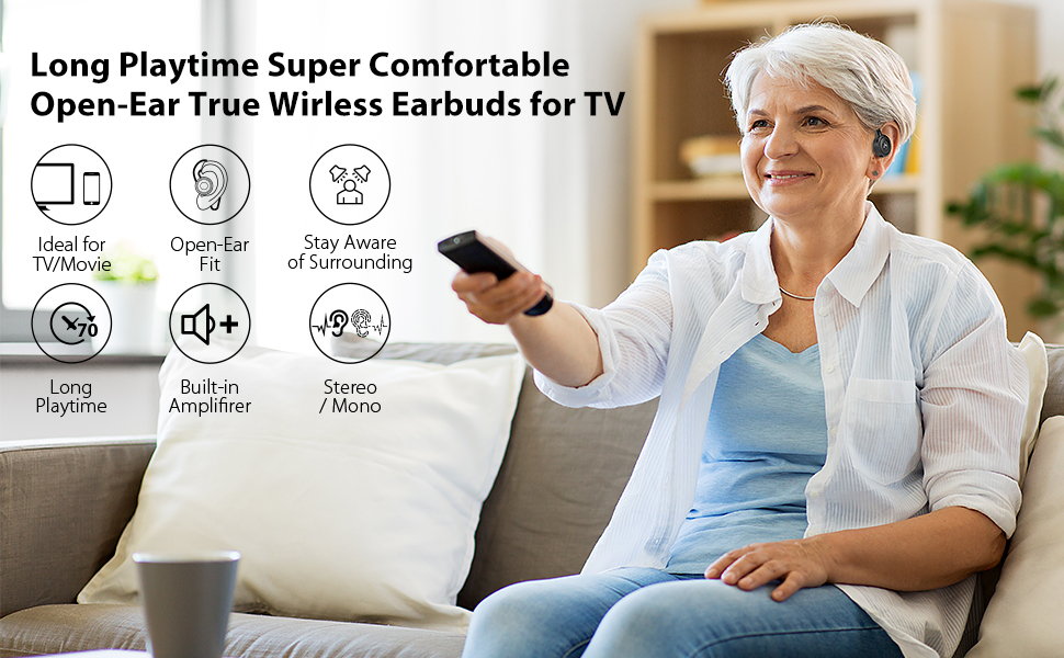long battery life bluetooth 5.0 wireless earbuds for tv