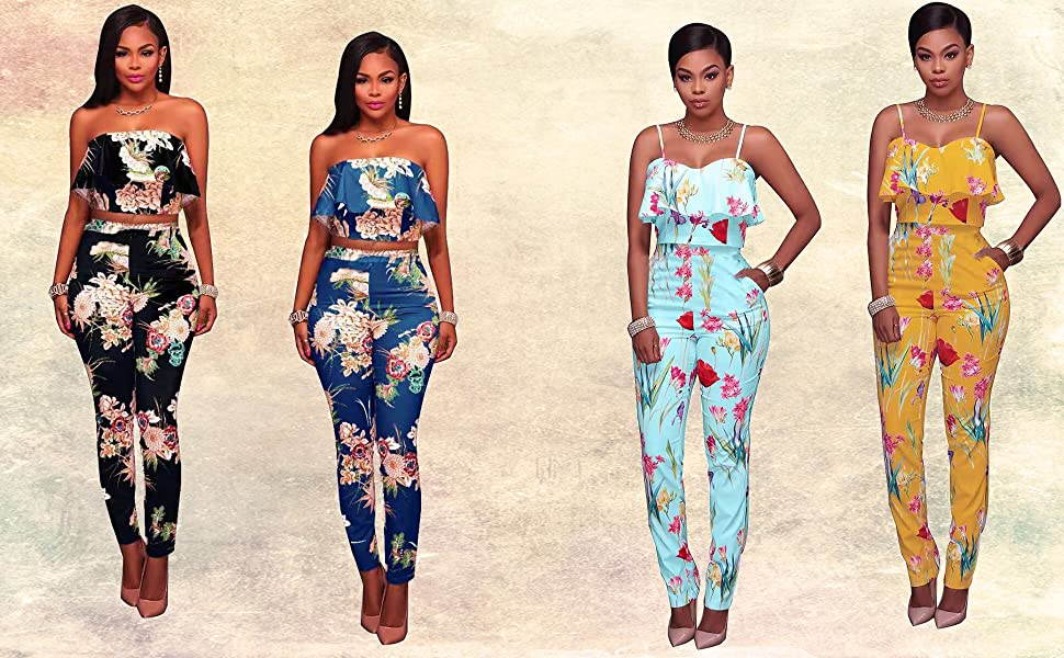 floral 2 piece jumpsuits for women