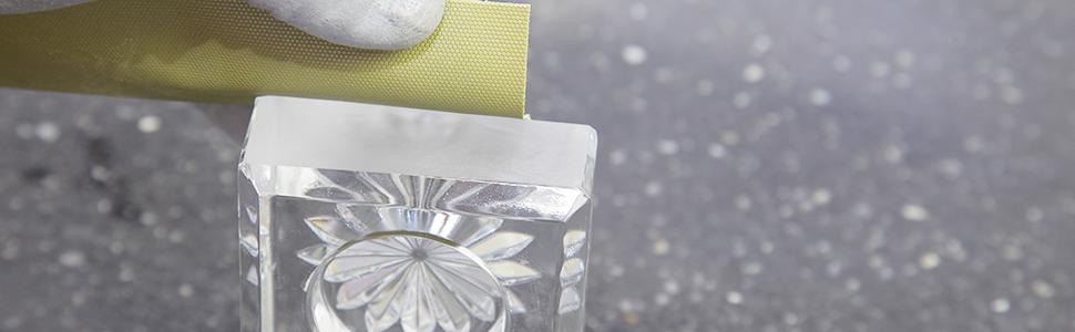 diamond sanding sheet on glass sculpture
