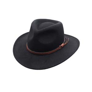 Men's Outback Wool Cowboy Hat Denver Crushable Western Felt by Silver Canyon